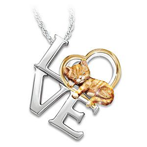 Purr-fect Love Women's 14K Gold-Plated Cat Pendant Necklace