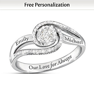 """""""Our Love For Always"""" Personalized Diamond Ring With 2 Names"""