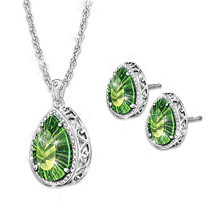 Helenite And Diamond Necklace And Earrings Set