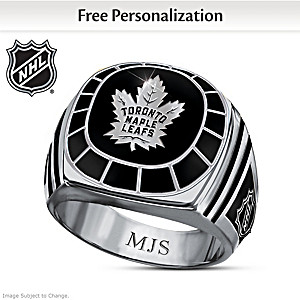 NHL® Personalized Black Onyx Ring: Choose Your Team