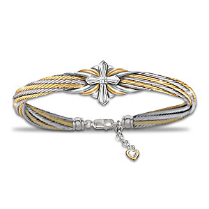 """Strength Of Faith"" Women's Diamond Cable Bracelet"