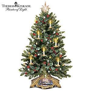 Thomas Kinkade Holiday Traditions Illuminated Tabletop Tree