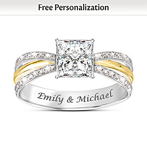 """""""All Our Love"""" Personalized White Topaz Ring With 2 Names"""