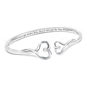"""Always My Daughter"" Engraved Heart-Shaped Diamond Bracelet"