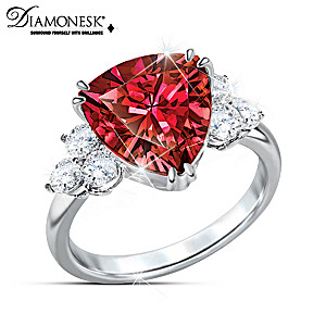 """""""Rarest Red"""" Diamonesk Simulated Red And White Diamond Ring"""