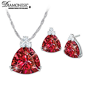 """""""Rarest Red"""" Diamonesk Earrings And Necklace Set"""