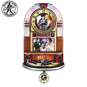 Elvis Rock 'N' Roll Illuminated Rotating Jukebox Wall Clock