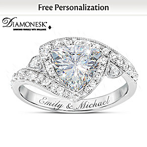 """""""Once In A Lifetime"""" Diamonesk Ring With 2 Engraved Names"""
