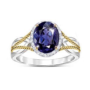 """Royal Radiance"" Women's Iolite And White Topaz Ring"