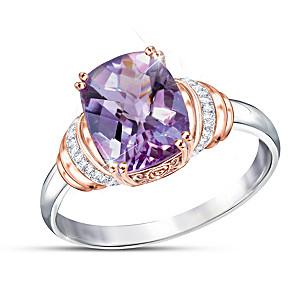 """Lavender Radiance"" Women's Rose De France Amethyst Ring"