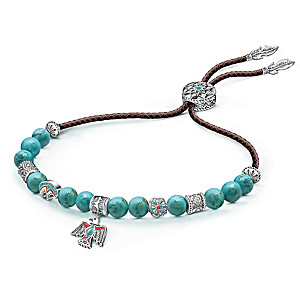 """Sacred Spirit"" Women's Leather And Turquoise Bolo Bracelet"