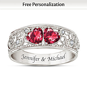 Diamond And Simulated Ruby Personalized Ring With 2 Names