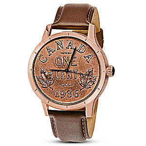 Replica 1936 Canadian Dot Penny Men's Rose-Gold Finish Watch