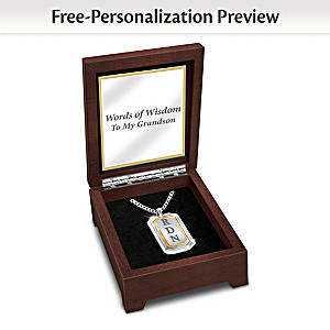 """""""Words Of Wisdom"""" Dog Tag Necklace With Grandson's Initials"""
