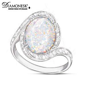 """Prisma Allure"" Diamonesk Simulated Australian Opal Ring"