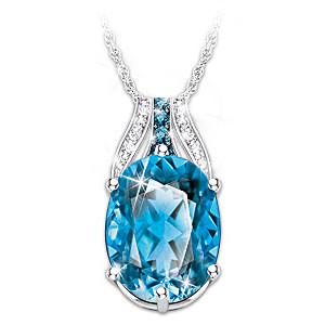 """Twilight Lustre"" Blue And White Topaz Pendant Necklace"