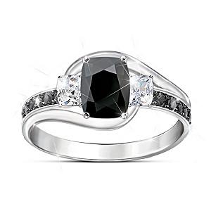 """""""Black Velvet"""" Women's Black Spinel And White Topaz Ring"""