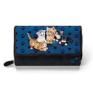 """Jürgen Scholz """"Kitty-Kat Cute"""" Women's Tri-Fold Wallet"""