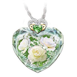 """Irish Rose"" Women's Crystal Heart-Shaped Pendant Necklace"