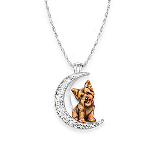 I Love My Yorkie Crystal Pendant Necklace