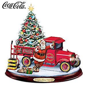 """""""Bringing Home The Tree"""" Lighted Musical COCA-COLA Sculpture"""