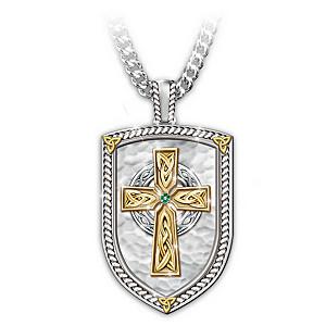"""Pride Of Ireland"" Engraved Men's Religious Pendant Necklace"