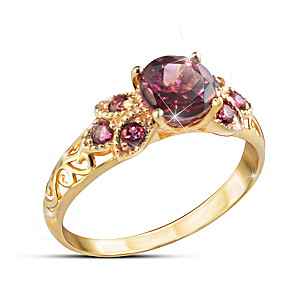 """Rare Vintage"" Women's 18K Gold-Plated Grape Topaz Ring"