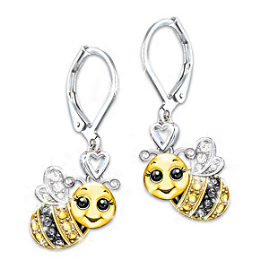 Silver And Gold-Plated Crystal Granddaughter Bee Earrings