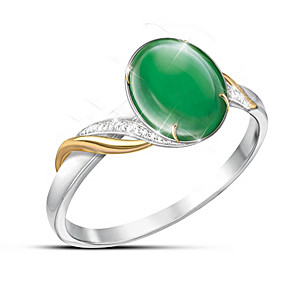 Empress Women's Burmese Jade and Sterling Silver Ring