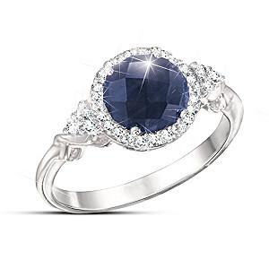 """Midnight Splendor"" Sapphire And White Topaz Ring"