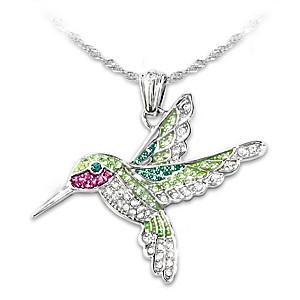 """Radiant Wings"" Women's Hummingbird Pendant Necklace"