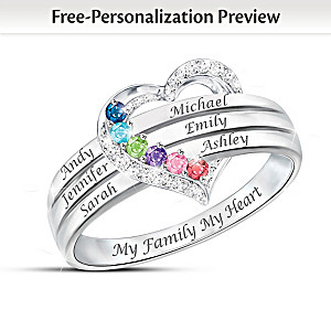 """""""My Family, My Heart"""" Name-Engraved Birthstone Ring"""
