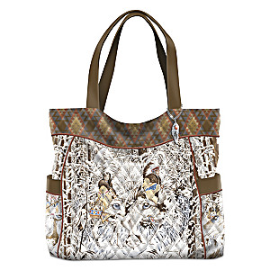 Diana Casey Wolf Art Women's Quilted Tote Bag