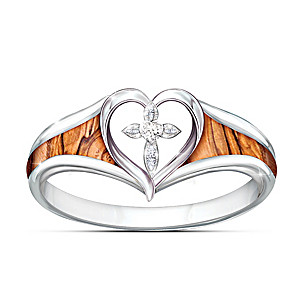 """""""Lovingkindness Of God"""" Cross Ring With Genuine Olive Wood"""