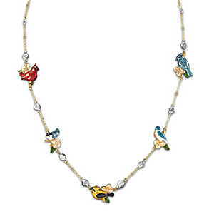 """""""Songbird Symphony"""" Sterling Silver Necklace With Crystals"""