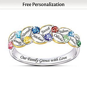 """""""Our Family Of Joy"""" Women's Name-Engraved Birthstone Ring"""