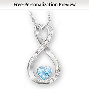 Granddaughter Name-Engraved Swarovski Birthstone Necklace
