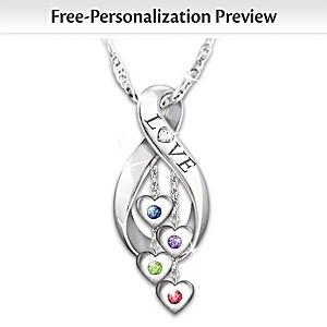 Infinite Love Personalized Family Birthstone Diamond Pendant