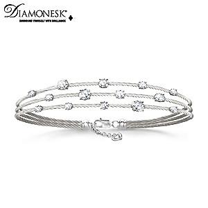 """Starry Night"" Women's Diamonesk Twisted Cable Bracelet"