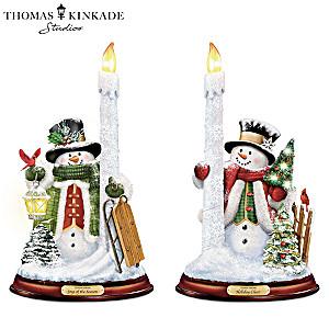"""Thomas Kinkade """"All Is Bright"""" Illuminated Candleholder Set"""