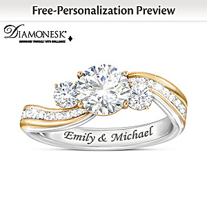 """""""The Story Of Us"""" Diamonesk Ring Personalized With 2 Names"""