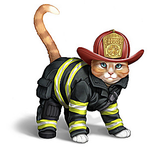 """Chief Furry Fighter"" Cat Figurine Wearing Firefighter Gear"