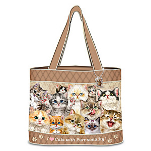 """Kayomi Harai """"Cats With Purr-sonality"""" Quilted Tote Bag"""
