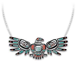 """""""Sacred Spirits"""" Eagle-Shaped Necklace With Moving Wings"""