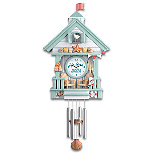 """""""Life Is Good At The Beach"""" Cuckoo Clock With Wave Sounds"""