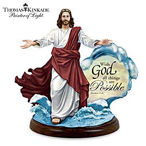 Thomas Kinkade Illuminated Jesus Walking On Water Sculpture