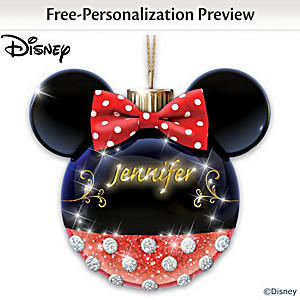 Minnie Mouse Personalized Illuminated Glass Ornament