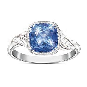 2-Carat Blue Helenite Ring With 10 White Topaz Stones