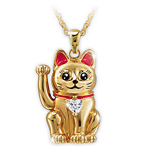 Maneki Neko-Inspired Lucky Cat Pendant With Movable Arm