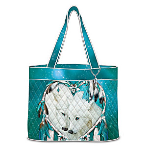 """Carol Cavalaris """"Heart Of Wolves"""" Wolf Art Quilted Tote Bag"""